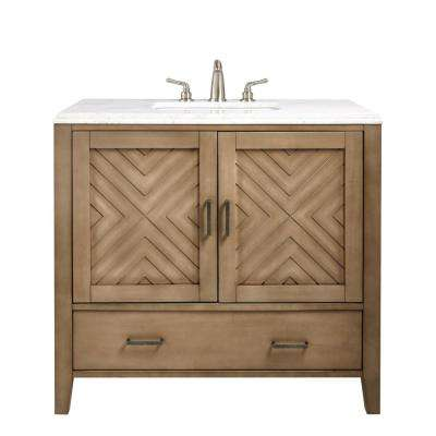 Sedona 37 in. W Vanity in Fawn Grey with Faux Marble Vanity Top in White with White Basin