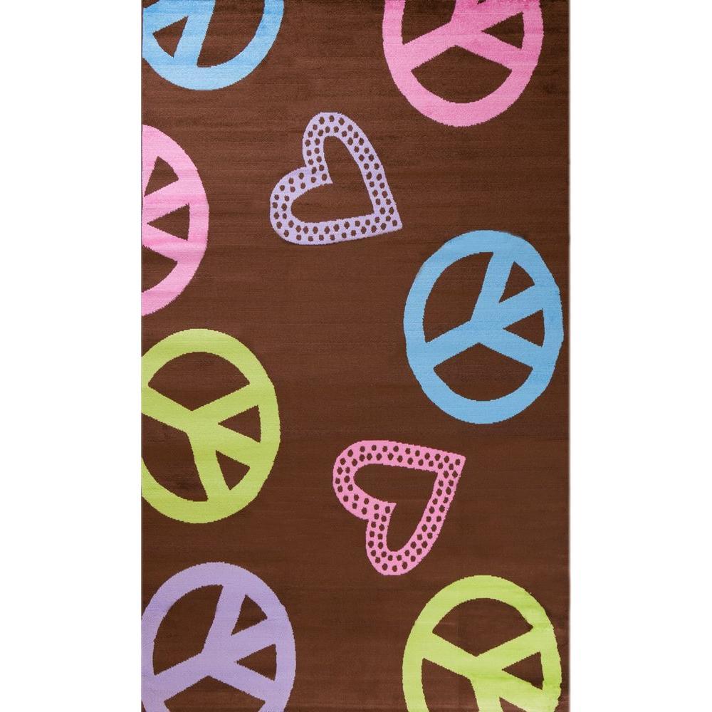 Alisa Peace & Polka Hearts Brown 2 ft. 7 in. x