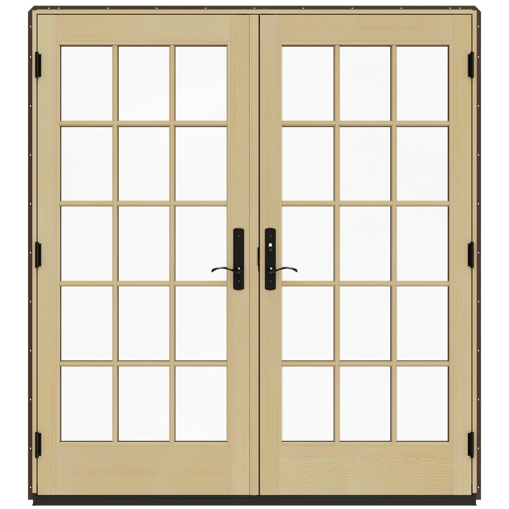 Wood French Patio Doors Of Jeld Wen 72 In X 80 In W 4500 Brown Clad Wood Left Hand