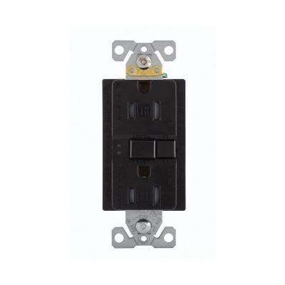 GFCI Self-Test 15A -125V Tamper Resistant Duplex Receptacle with Standard Size Wallplate,  Black