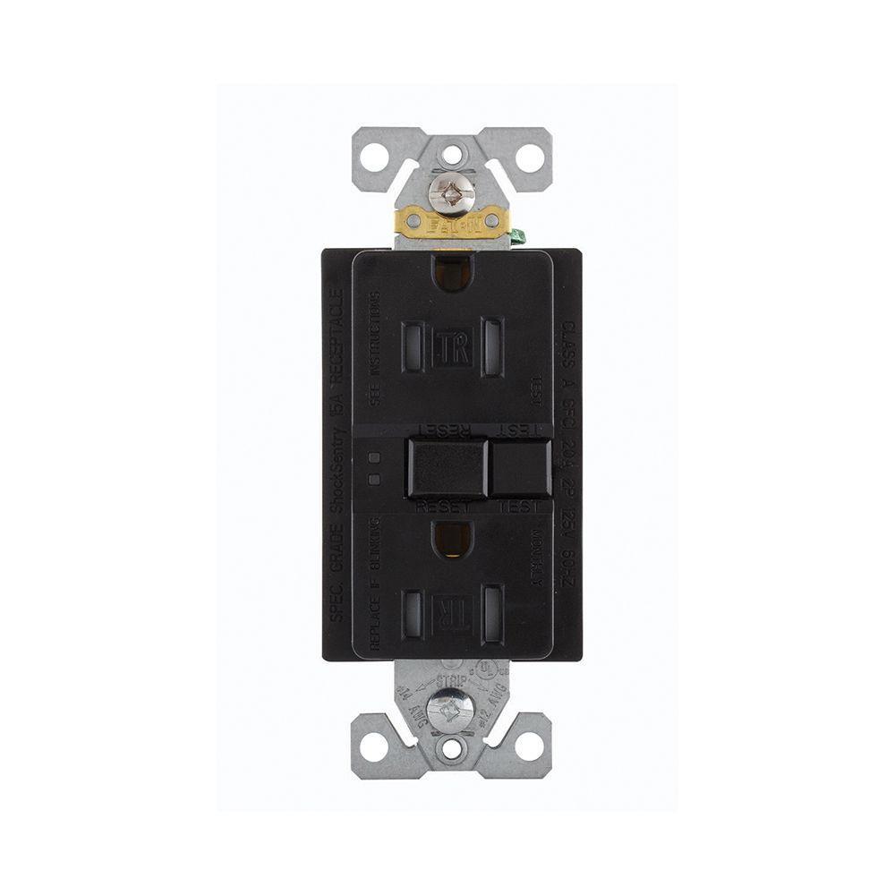 GFCI Self-Test 15A -125V Tamper Resistant Duplex Receptacle with Standard Size Wallplate,  Black