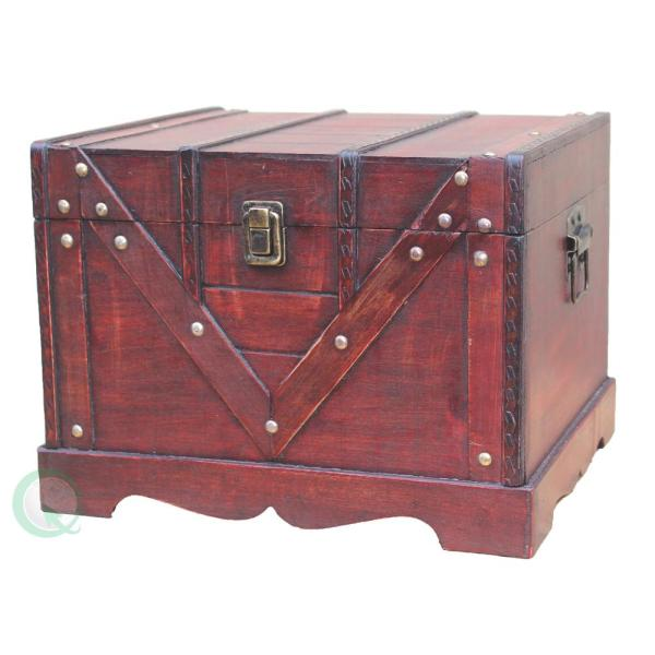 Vintiquewise Antique Cherry Storage Trunk QI003027.S