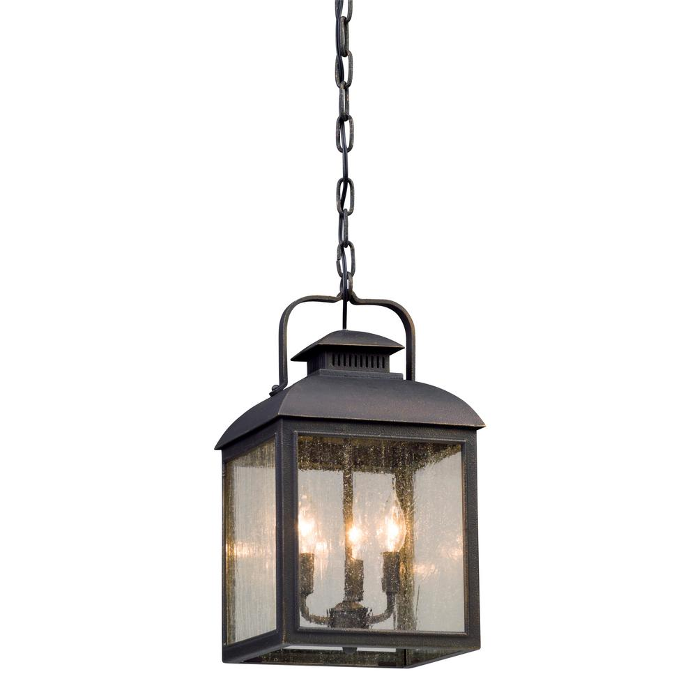 Troy Chamberlain 3-Light Vintage Bronze Outdoor Pendant