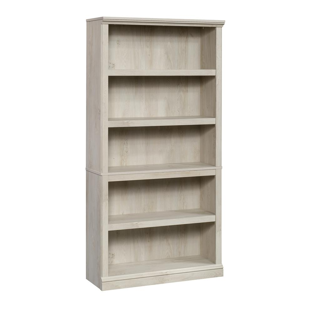 69.76 in. Chestnut Wood 5-shelf Standard Bookcase with Adjustable Shelves