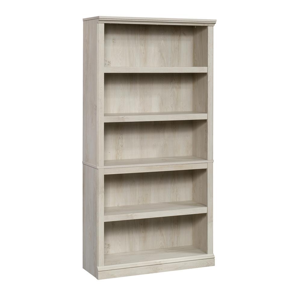 69.76 in. Chestnut Wood 5-shelf Standard Bookcase with Adjustable Shelves
