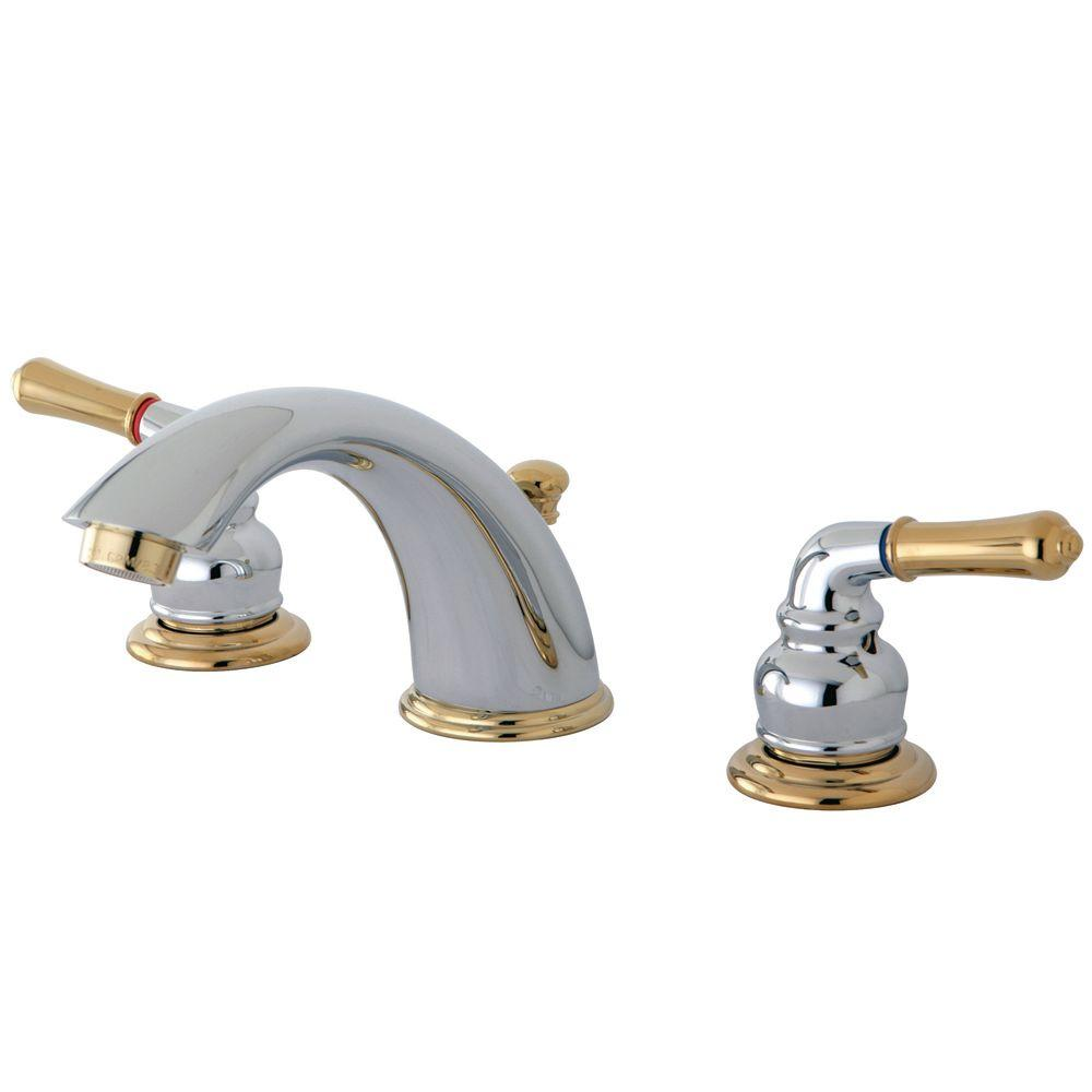 Kingston Brass 8 In Widespread 2 Handle Mid Arc Bathroom Faucet In Chrome And Polished Brass