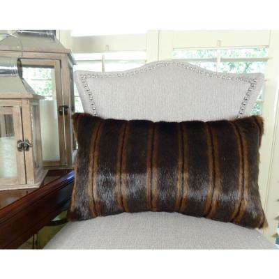 Fancy Mink 12 in. x 20 in. Light and Dark Brown Hypoallergenic Down Alternative Handmade Throw Pillow
