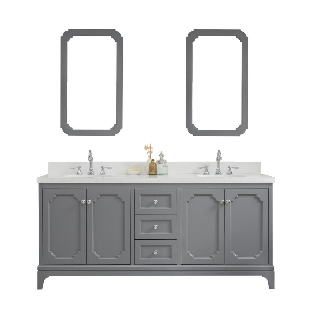 Water Creation Queen 72 in. Cashmere Grey With Quartz Carrara Vanity Top With Ceramics White Basins and Faucet