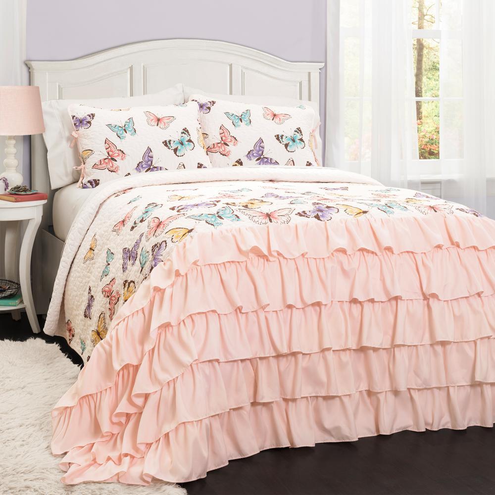 Flutter Butterfly Quilt Pink 2-Piece Twin Set