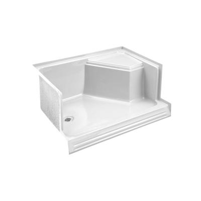 Memoirs 60 in. x 36 in. Single Threshold Shower Base with Left-Hand Drain and Integral Right-Hand Seat in White
