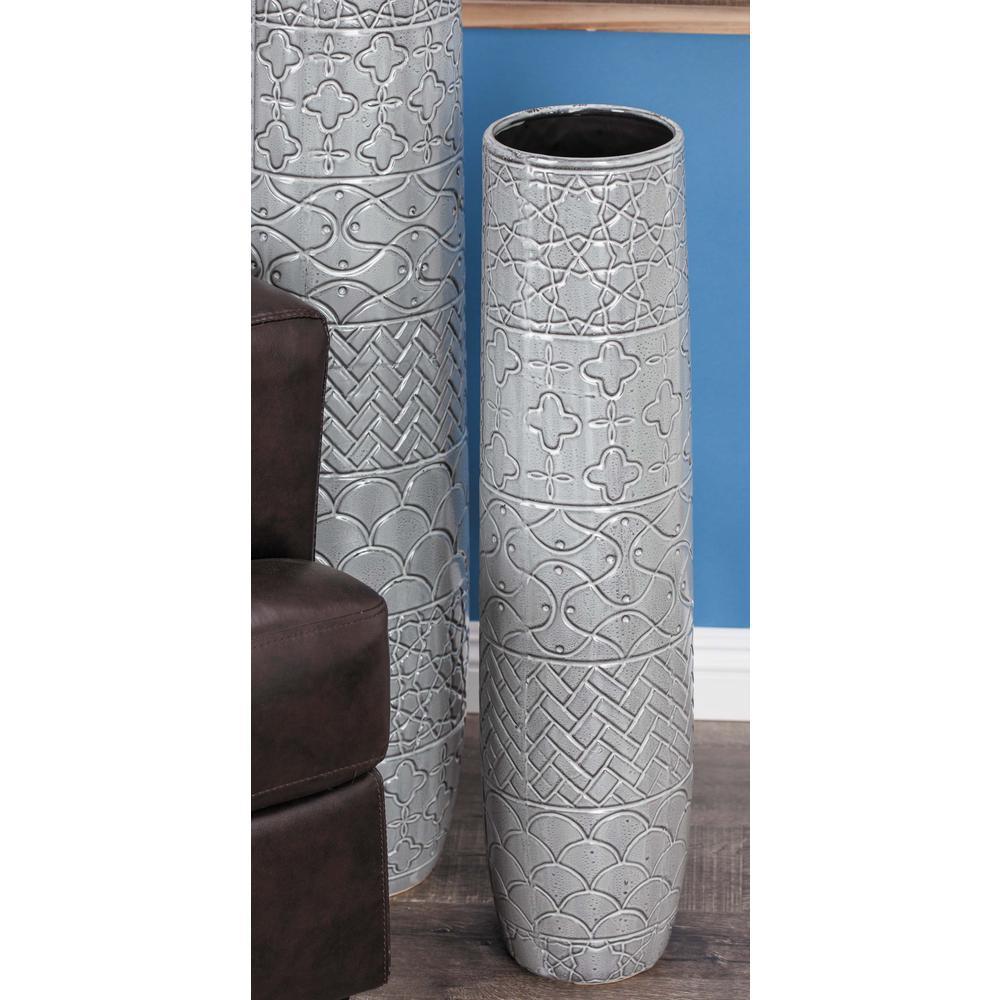 30 in. Contemporary Engraved Glazed Gray Decorative Vase