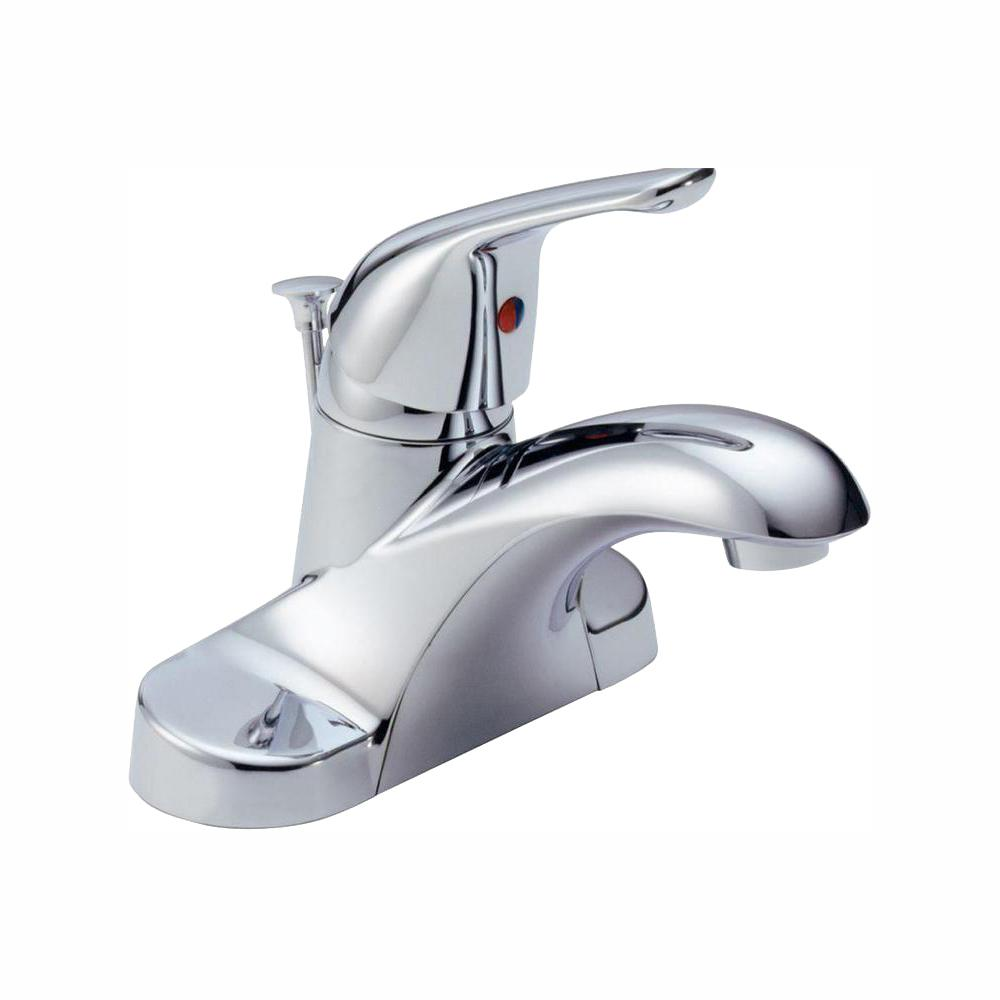 Delta Foundations 4 in. Centerset Single-Handle Bathroom Faucet with Metal Drain Assembly in Chrome
