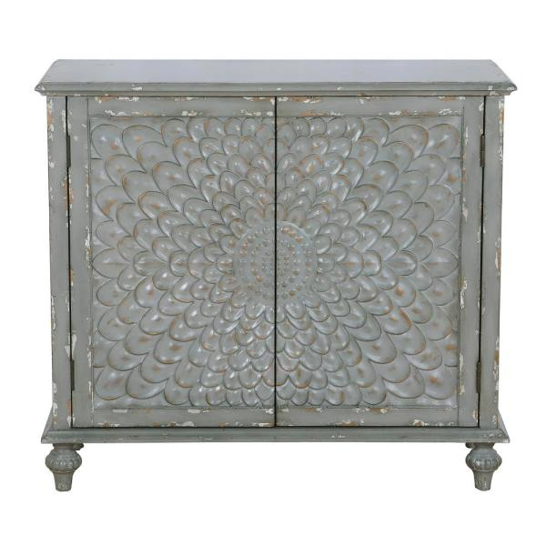 HomeFare Dahlia Carved Weathered Grey Front 2-Door Chest DS-D229-010