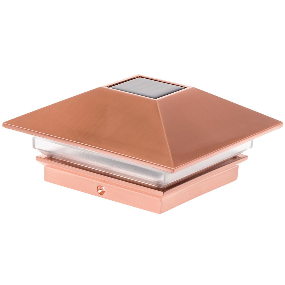 4 in. x 4 in. Solar Powered Integrated LED Copper Slim Po...