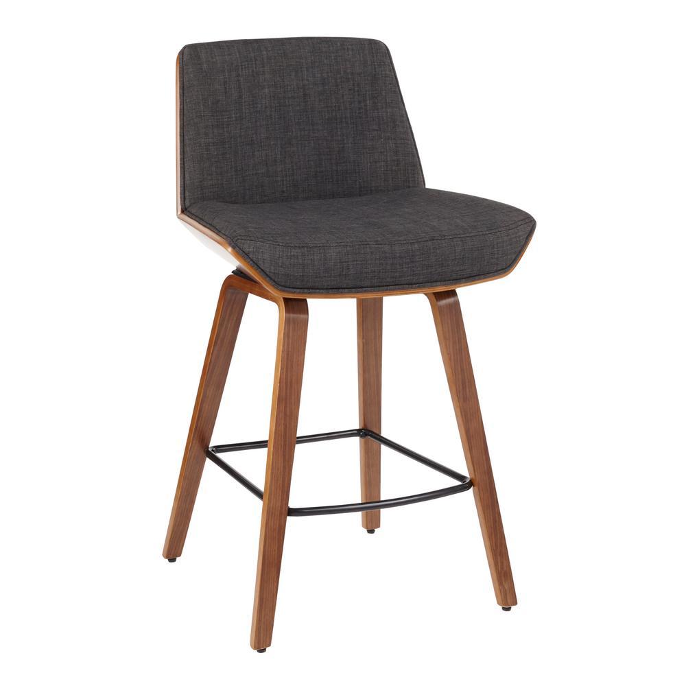 Corazza Mid-Century Modern Walnut Wood and Charcoal Fabric Counter Stool