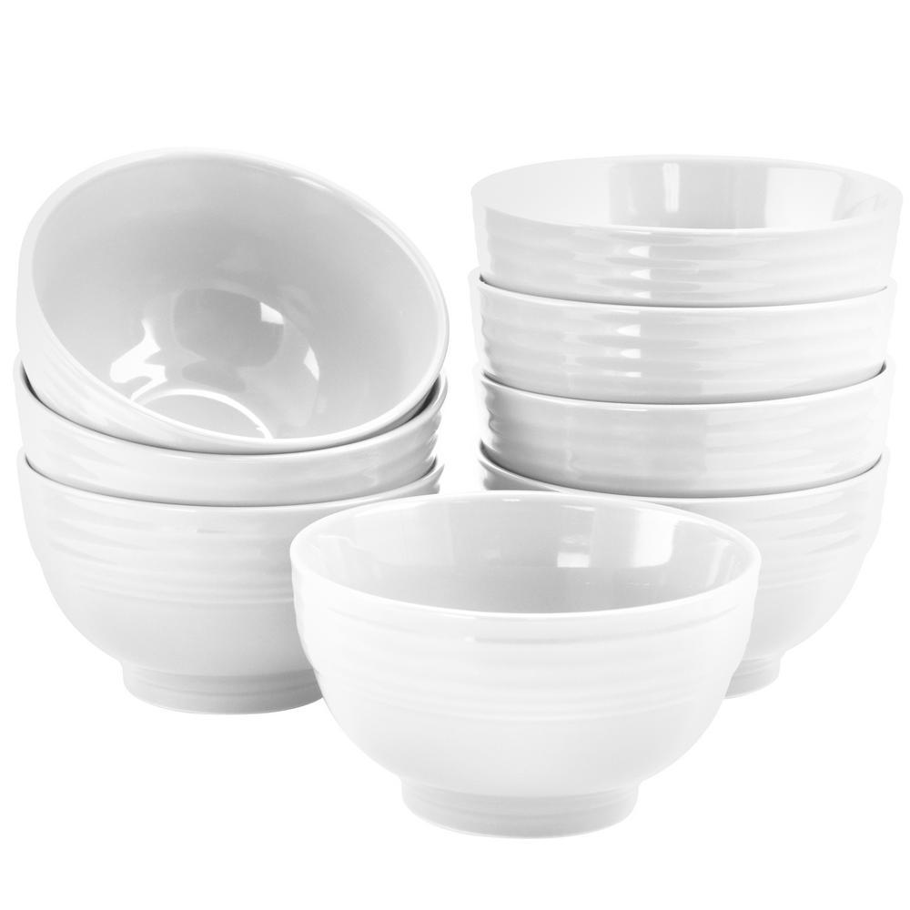 22 fl. oz. White Stoneware Bowl (Set of 8)
