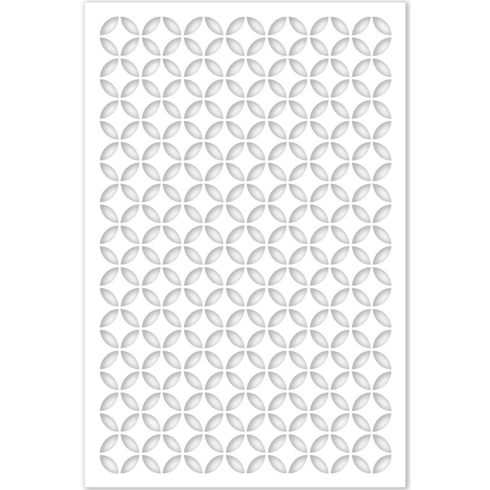 Acurio Latticeworks 1/4 in. x 32 in. x 4 ft. White Moorish Circle Vinyl Decor Panel