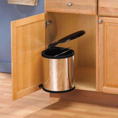 16.5 in. H x 11 in. W x 11 in. D Plastic In-Cabinet Pivot Out Trash Can in Chrome