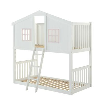Rohan Cottage White and Pink Twin Over Bunk Bed