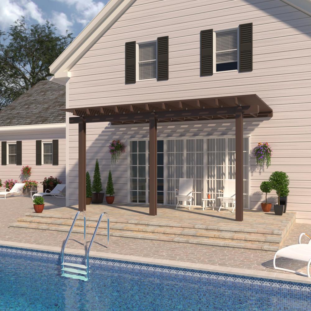 14 ft. x 10 ft. Brown Aluminum Attached Open Lattice Pergola with 3 Posts  Maximum Roof Load 10 lbs.