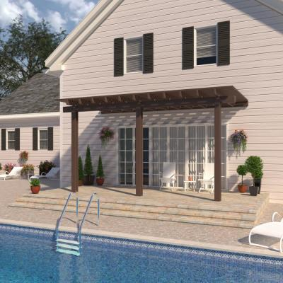 20 ft. x 10 ft. Brown Aluminum Attached Open Lattice Pergola with 3 Posts  Maximum Roof Load 10 lbs.