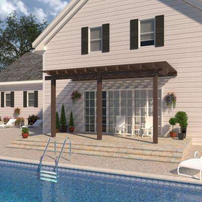 14 ft. x 14 ft. Brown Aluminum Attached Open Lattice Pergola with 3 Posts  Maximum Roof Load 10 lbs.