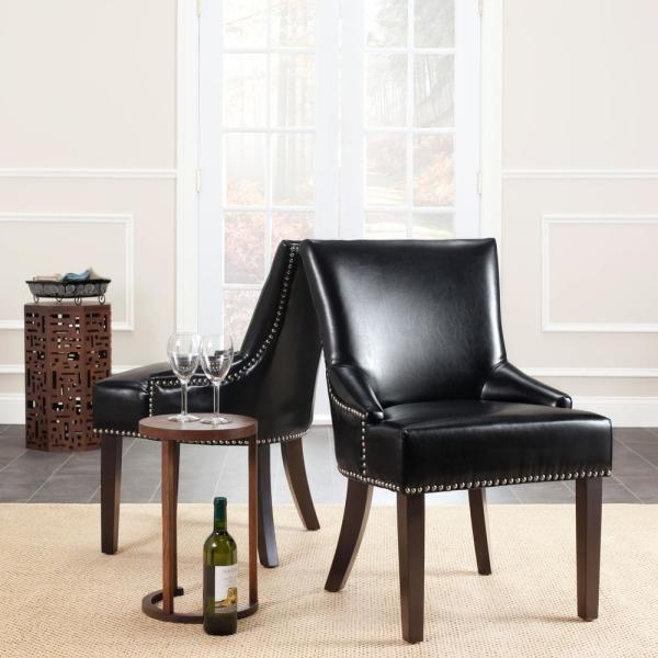 Safavieh Lotus Black/Espresso Bicast Leather Side Chair (Set of 2) MCR4700C-SET2