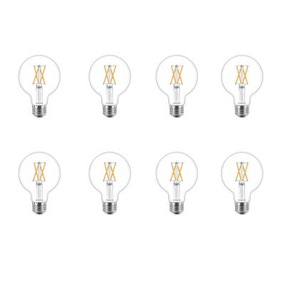 60-Watt Equivalent G25 Dimmable LED Indoor/Outdoor Light Bulb Glass Clear with Warm Glow Effect (2700K) (8-Pack)