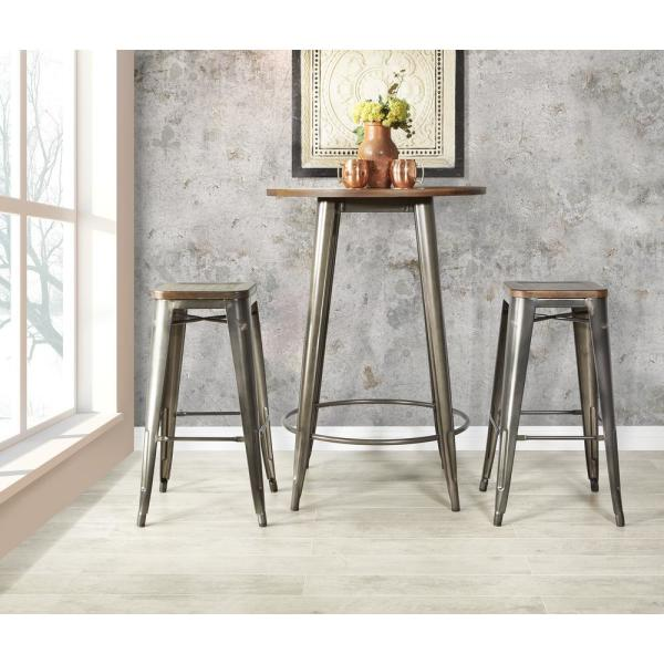 Osp Home Furnishings Indio Round Pub Table And 2 Bar Stool Set With Matte Industrial Steel And Ash Wood Top Ind34c2 The Home Depot