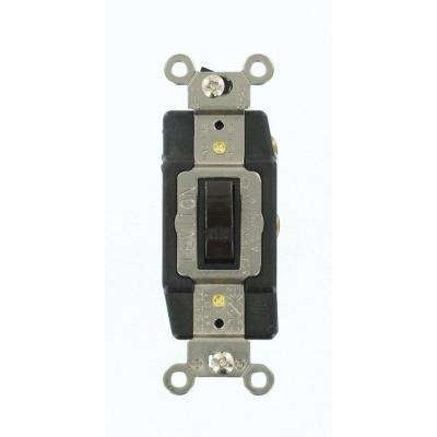30 Amp Industrial Grade Heavy Duty Single-Pole Double-Throw Center-Off Maintained Contact Toggle Switch, Brown