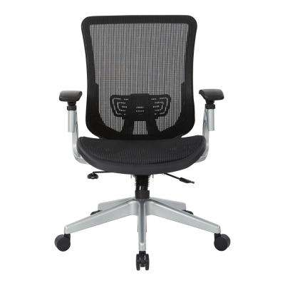 Black Vertical Mesh Seat and Back Chair with Silver Base
