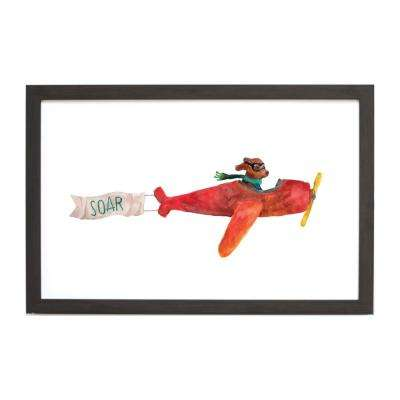 Watercolor Dog Airplane , EBONY FRAME, Magnetic Memo Board