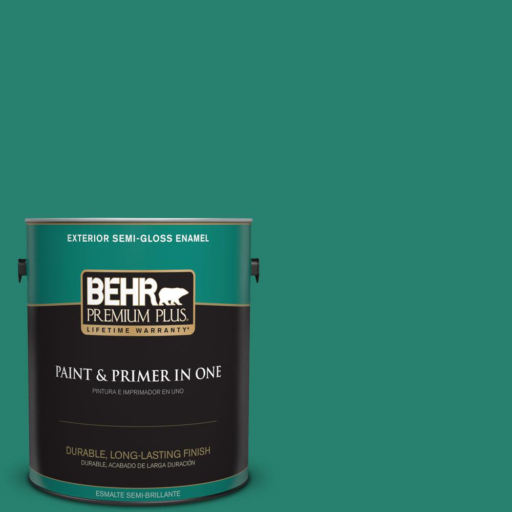 1-gal. #P440-7 Mermaid Sea Semi-Gloss Enamel Exterior Paint