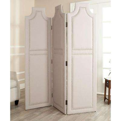 5.91 ft. Taupe 3-Panel Room Divider