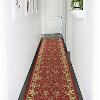 Traditional Floral Design Dark Red 2 ft. x 7 ft. Non-Skid Runner Rug