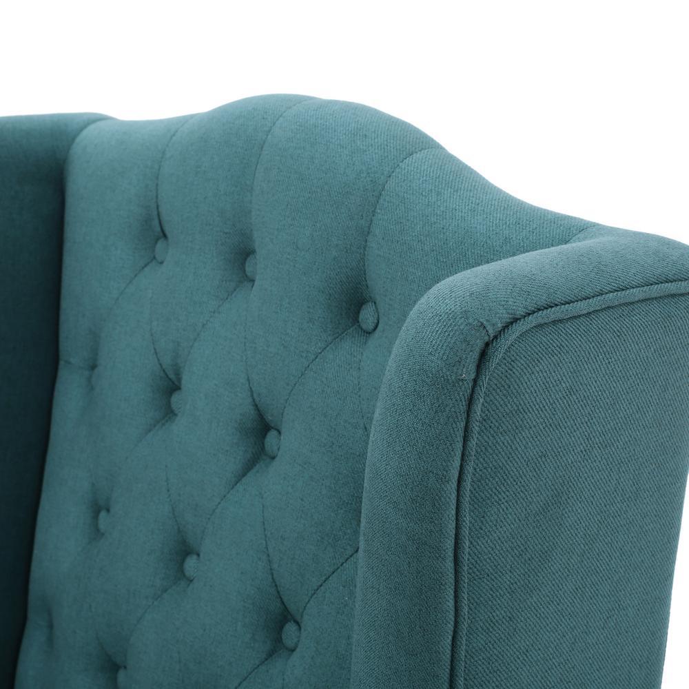 Surprising Noble House Toddman Dark Teal Fabric High Back Accent Chair Machost Co Dining Chair Design Ideas Machostcouk