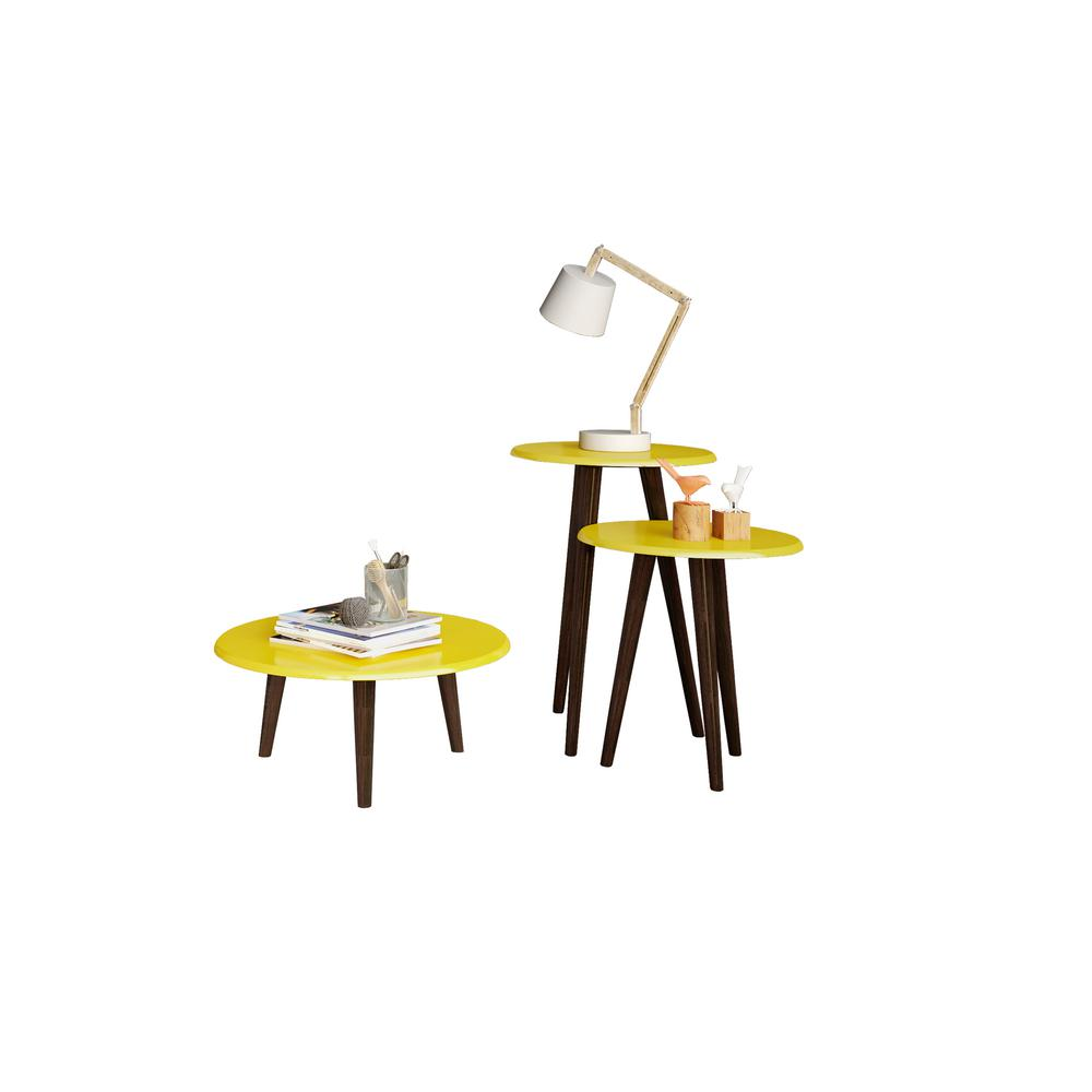 Carmine Mid Century Modern Yellow End Tables with Solid Wood Splayed