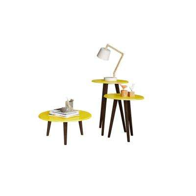 Carmine Mid Century Modern Yellow End Tables with Solid Wood Splayed Legs (Set of 3)