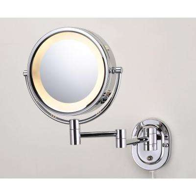 15 in. L x10 in. W Lighted Wall Makeup Mirror in Chrome