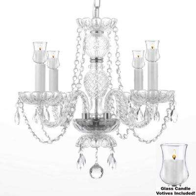 Empress Crystal 4-Light Clear Chandelier with Candle Votive