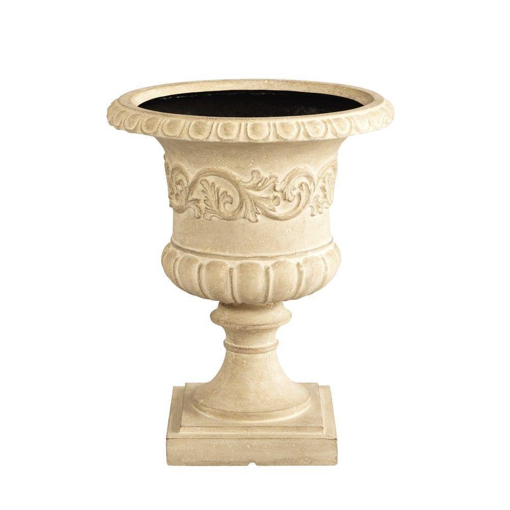 20 in. H Grecian Aged Limestone Urn Planter