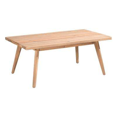 Grace Bay Wood Outdoor Patio Coffee Table in Natural