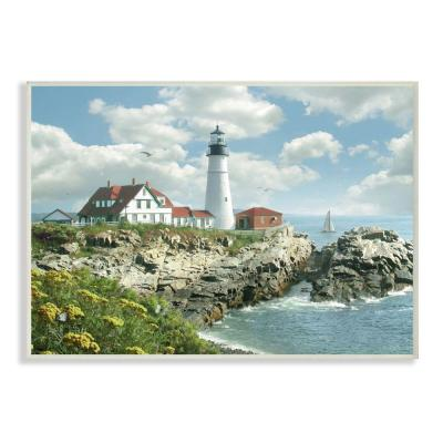 "12 in. x 18 in. "" Portland Head Lighthouse Scene Grassy Ocean Side Peninsula"" by Alan Giana and Company Wall Plaque Art"
