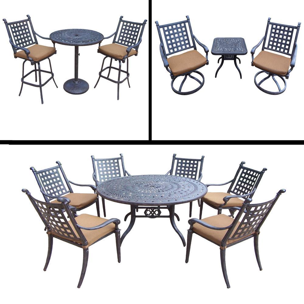 Belmont 13-Piece Aluminum Outdoor Dining Set with Sunbrella Brown Cushions