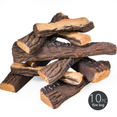 Decorative Ceramic Wood Fireplace Firepit Faux Log Set (10-Piece)