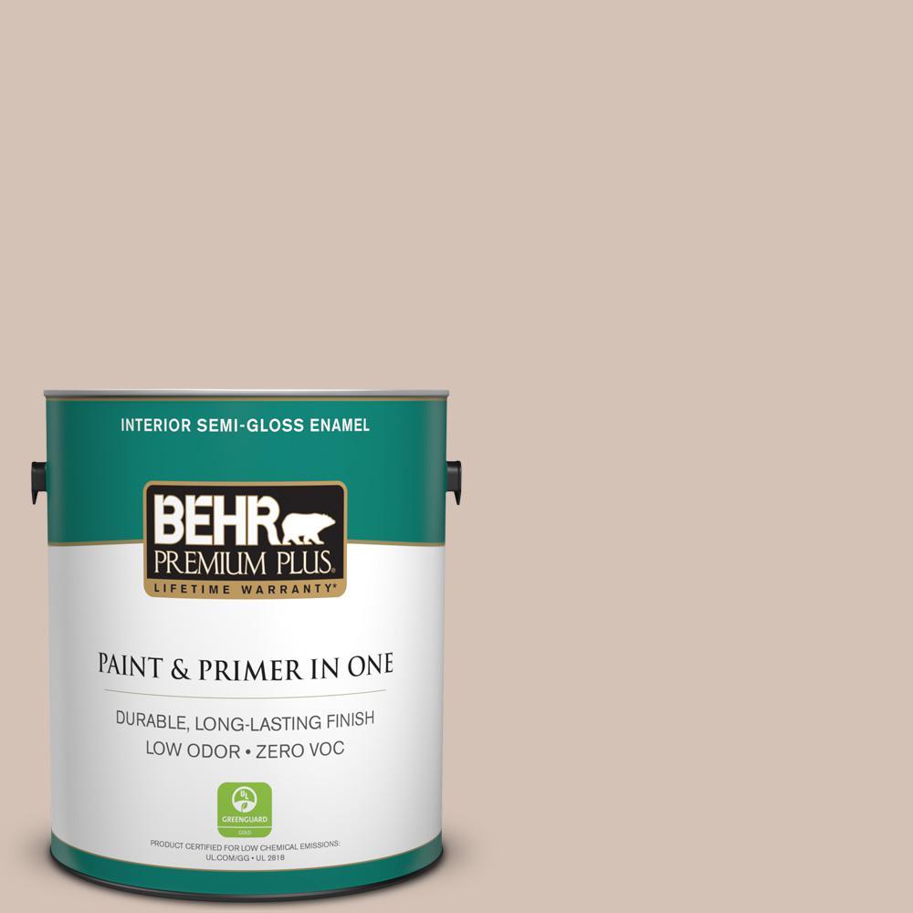 1-gal. #BIC-02 Hazy Taupe Semi-Gloss Enamel Interior Paint