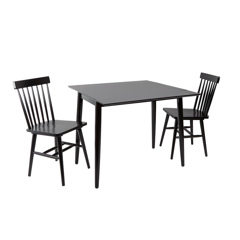 silverwood connor black drop leaf dining table cpfd1801c the home depot. Black Bedroom Furniture Sets. Home Design Ideas