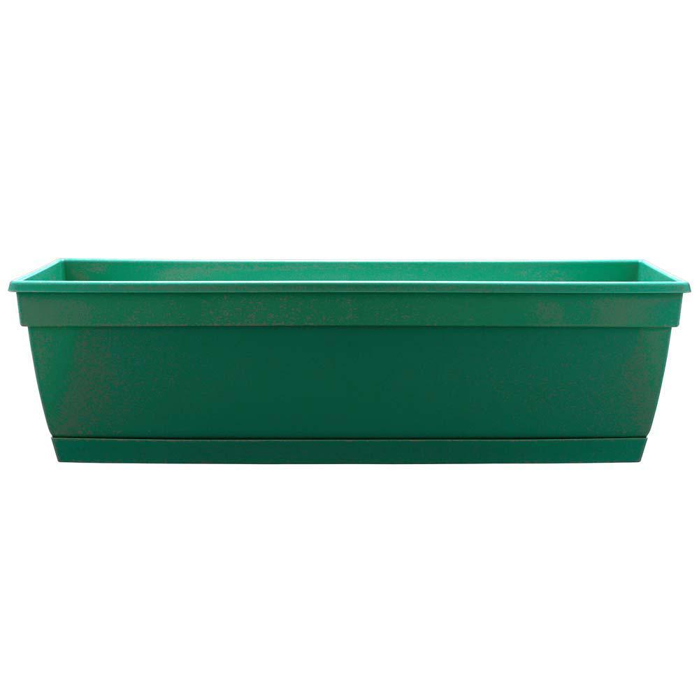 Newbury 24 in. Cadmium Green Plastic Poly Window Box with Saucer