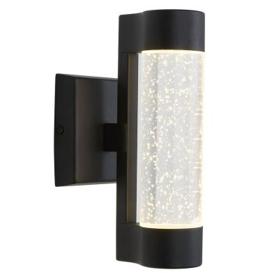 Medium Bubble Flow Black Integrated LED Outdoor Wall Mount Cylinder Light