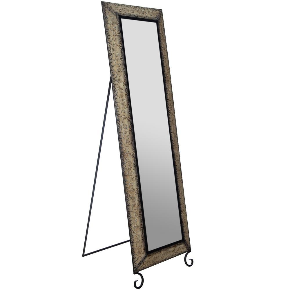 Embossted Metall Full Length Rectangular Bronze Floor Mirror